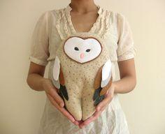 Plush Barn Owl Doll stuffed animal totem plush dolls by FawnandSea