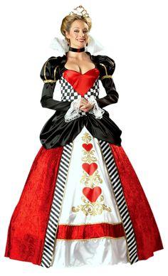 Adult Premier Queen of Hearts Costume Alice In Wonderland Costumes.plus size too! Queen Of Hearts Halloween Costume, Red Queen Costume, Halloween Fancy Dress, Adult Halloween, Women Halloween, Disney Halloween, King Of Hearts Costume, Scary Halloween, Costume Alice