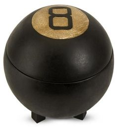 """Eight Ball Lidded Box, 8.5HX7.75D, BLACK by Home Decorators Collection. $34.00. 8.5""""H x 7.75"""" diameter.. The legendary eight ball has been repurposed into a functional, whimsical lidded box. Our antiqued Eight Ball Lidded Box is great for storage. Made of polyresin and stonepowder. Available in black. Actual size is 8.5HX7.75D"""