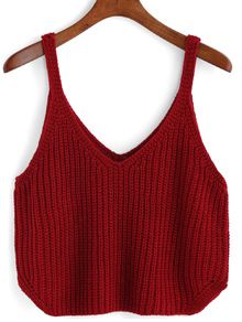 V Neck Knit Red Cami Top