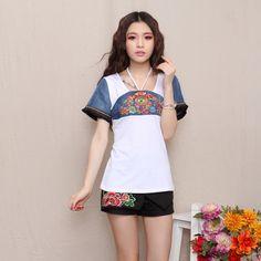 Mandarin Style Modern Open Neck Shirt - White - Chinese Shirts & Blouses - Women Chinese Shirt, White Scrubs, Blouses For Women, Jackets For Women, Mandarin Collar, Short Outfits, Shirt Blouses, Oriental, Shorts