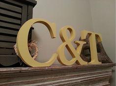 Set of 3  Handpainted Wooden Freestanding Wedding by LoveLettersMe, £16.50