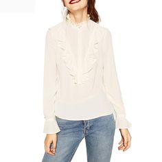 Fashion Women Ruffles Shirts Elegant Office Work Wear Butterfly Long Sleeve Chiffon Blouse Female Sweet Tops Blusa White Black