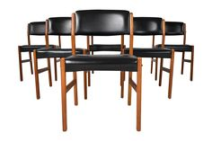 Stunning set of six mid-century modern Danish teak dining chairs, circa 1960s…