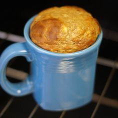 MUG CAKE 1 very ripe banana (with brown spots!)  2 Tablespoons natural peanut butter, or nut butter of choice  1 whole egg  1/4 teaspoon baking soda  dash of cinnamon (optional)  Directions:  Combine all of the ingredients into a mug, mix until relatively smooth, and bake at 350' for 30-35 minutes..