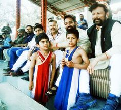 Minister for Forests Lal Singh watching bouts during Mufti Mohd. Sayeed Memorial Wrestling Tournament at Mini Stadium Parade in Jammu.