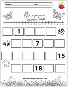 pages) Fill in the missing numbers with the bugs & more! Kindergarten Math Worksheets, Math Literacy, Preschool Learning Activities, Preschool Math, Go Math, Classroom Management, Veronica, Bugs, Teacher