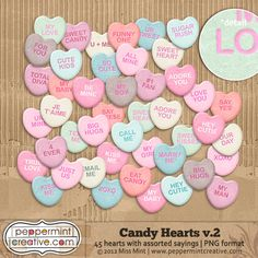 Candy Conversation Hearts for Digiscrappers from peppermintcreative.com
