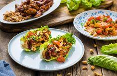 Kylling i hjertesalat med papayasalat og BBQ-saus Bbq, Tacos, Mexican, Ethnic Recipes, Drink, Barbecue, Beverage, Barrel Smoker, Mexicans