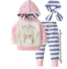 Girls Newborn BOHO Hello Im New Here Dream Catcher Pink and Blue 3 Piece Hoodie/ Bunny Hug Set