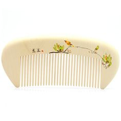 Hand Painted Boxwood Massage Comb Anti Static Pocket Size Wooden Hair Comb 51 13cm  Magnolia and Bird ** You can get additional details at the image link.(This is an Amazon affiliate link and I receive a commission for the sales)
