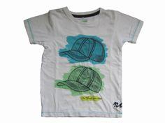T-shirt Wit met print petjes Merk Name it Maat 98/104