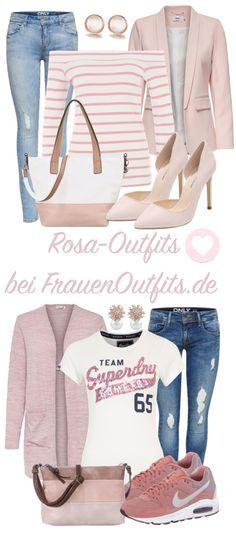Zwei stylische Frühlings Outfits in der Trendfarbe Rosa. Ob schick mit trendiger Carmenbluse und Blazer oder casual mit Printshirt und Sneakers - Die Farbe Rosa ist wie gemacht für deinen Frühjahr/Sommer 2017!