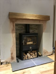 Chilli Penguin Woody with Log Store Fireplace Ideas, Fireplace Design, Stove Installation, Log Store, Wood Burner, Stoves, Woody, Hearth, Fireplaces