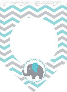 Uau! Veja o que temos para Bandeirinha Varalzinho 3 Elefantinho Chevron Cinza e Azul Turquesa Kit Festa
