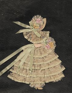Paper Girl  - paper, lace, ribbon embroidery - dress and clothing suggest outline ... I'd want to add hair - maybe wool - nice work!  *********************************************   (repin) 'Playingwithbrushes', via Flickr #mixed #media #lace #dress