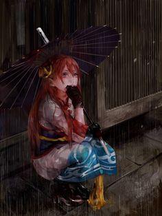 Pixiv Id 1734923, Gin Tama, Gekijouban Gintama Kanketsuhen: Yorozuya Yo Eien Nare, Kagura (Gin Tama), #Rain, #BlackHandwear