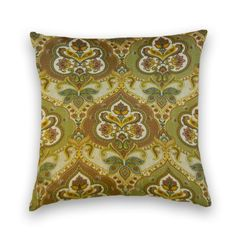 Green, Brown, Gold Decorative Pillow Cover.