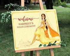 Indian Haldi ceremony, Welcome sign, Haldi sign, Indian wedding sign, haldi decor - - Hindu Wedding Ceremony, Mehndi Ceremony, Haldi Ceremony, Sikh Wedding, Wedding Reception, Desi Wedding Decor, Indian Wedding Decorations, Ceremony Decorations, Backyard Decorations