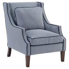Norwalk Modern Tile Print Navy Piped Dark Brown Arm Chair   Kathy Kuo Home