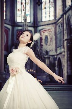 #Ballerina #bride Forget the bride part; it would be so much fun to do a photo shoot with little ballerinas at some old building! <3