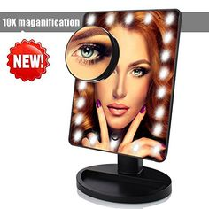 Makeup Mirror with Lights LED Lighted Movable Vanity Mirror 22 Bright LEDs 10X Magnification Large Screen Touch Dimmable with Memory Function Lighted Illuminated ** You can get additional details at the image link.