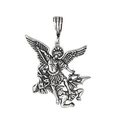 Sterling Silver Archangel Saint Michael Charm Pendant Oxidized  M ** Check out the image by visiting the link.Note:It is affiliate link to Amazon.
