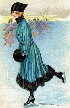 Vintage Winter Ice Skating Skater Postcard ~ Victorian woman with black fur muff. Vintage Christmas Images, Victorian Christmas, Christmas Art, Illustration Noel, Christmas Illustration, Vintage Pictures, Vintage Images, Vintage Cards, Vintage Postcards