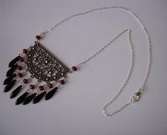 Conector de collar plata vidrio dagas cobrizo por fleursdeboutis