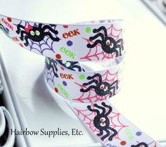 Glitter Spiders 5 Yd Halloween Grosgrain Ribbon by HairbowSuppliesEtc