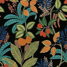 Funky Jungle Peel and Stick Wallpaper - Sample / Black