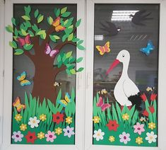 stork - New Deko Sites Classroom Window Decorations, Preschool Classroom Decor, Jungle Decorations, School Decorations, Preschool Crafts, Felt Flowers Patterns, Just Kids, Christmas Classroom Door, Animal Crafts For Kids