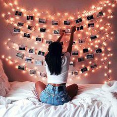 Instagram-inspired string light wall decor