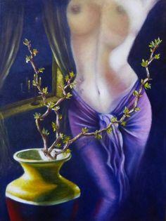 ORIGINAL Oil Painting Modern  paintings Nude by NikkolinaArt