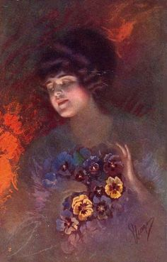 Girl with pansies by Guerzoni