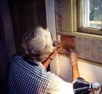 Woman restoring painted finishes below a window. Vintage Paint Colors, Preserves, Improve Yourself, Home Improvement, Restoration, Woman, Budget, Woodwork, Painting