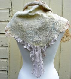 Romantic Nuno Felted Faerie Collar Scarf Capelette Vintage Lace