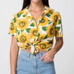 Sunflower Tie Up Crop Top Vintage not Brandy Melville. Super cute and soft sunflower crop top. Brandy Melville Tops Crop Tops