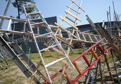 """A temporary public art project by Charlie Brouwer, """"Rise Up Wilmington"""" is a 250+ ladder installation on the grounds of Cameron Art Museum, commissioned by the Taubman Museum of Art in Roanoke, Virginia. 31 March 2012"""