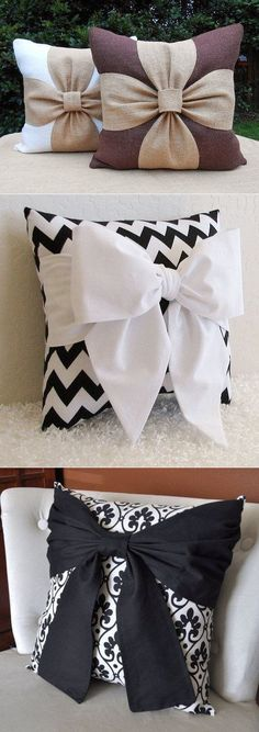 Wonderful Mesmerizing Sewing Ideas for All. Awe Inspiring Wonderful Mesmerizing Sewing Ideas for All. Bow Pillows, Sewing Pillows, Throw Pillow, Home Crafts, Diy Home Decor, Diy And Crafts, Cushion Covers, Pillow Covers, Cushion Cover Designs