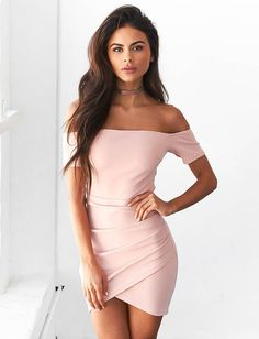 Fashion Off Shoulder Pure Color Bodycon Short Sleeve