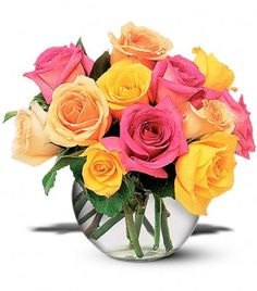 Flower Delivery - 12 Mixed Color Rose...
