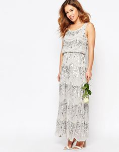 Image 4 of Maya Petite Layered Maxi Dress With All Over Embellishment