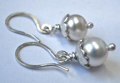 Sterling Silver Pearl Blossom Earrings. $28.00, via Etsy.