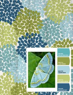 Shower Curtain in Blue and Green Moth Inspired Floral Standard and Long Lengths 96 or 96 in. Let's make one in your colors! Shower Curtain in Blue and Green Moth Inspired Floral Standard and Long Lengths 96 Palette Verte, Sherwin William Paint, Interior Paint Colors, Interior Design, Paint Swatches, Color Swatches, Bathroom Colors, Room Paint, Color Pallets