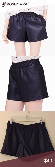 Club Monaco Size 4 Black Leather Shorts Perfect condition. Faux Leather. Can fit between 4-6 - waist is elastic and very stretchy. Club Monaco Shorts