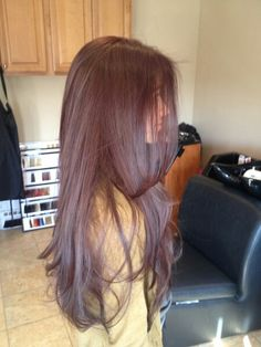 My new hair color and cut~ Dark Brown ~ red ~ violet