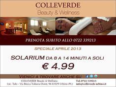 SPECIALE APRILE!  Solarium da 8 a 14 Minuti a soli 4,99 Euro!  COLLEVERDE Country House Beauty & Wellness