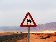 A camel crossing!! You will come upon this sign on the desert highway leading from Wadi Rum to Amman . You have to stop for photos . Where would you see this else where! Enjoy your trip and stay with http://www.gweet.com/