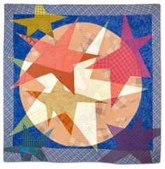 """Stars"" by Ruby Horansky, 52½"" x 51½"".  Empire Quilters Guild show.  ""Stars"" is one of a series of quilts using only plaid or checked fabric.  Machine pieced, machine quilted."